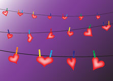Hearts On The Line On Purple Stock Photo