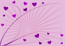 Hearts and lines. Abstract illustration of twisting lines and scattered hearts in shades of purple, violet and pink, with copy space. A Valentine's Day vector illustration
