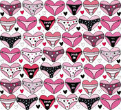 Hearts with lingerie. Valentines day background Royalty Free Stock Images