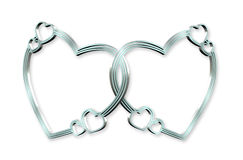 Hearts Linked 3D silver. 3Dimensional linked silver hearts clip art or design element on white background.Wedding or Valentine Stock Images