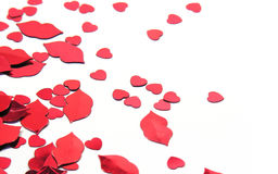 Hearts and lips confetti Royalty Free Stock Photos