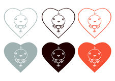 Hearts and Little Birds -  red black gray colors scons Royalty Free Stock Image