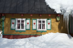 Hearts. Little house in the czech mountains Royalty Free Stock Photography
