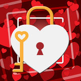 Hearts Lock Indicates In Love And Adoration Royalty Free Stock Photos