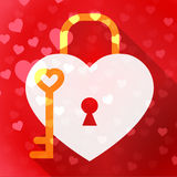 Hearts Lock Means In Love And Adoration Royalty Free Stock Photo
