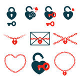 Hearts in locks, keys and chains, icon set concept vector illustration