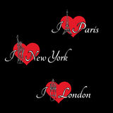 Hearts and London, Paris, New York Stock Images