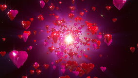 Hearts loopable background. Flight hearts loopable background animation stock footage