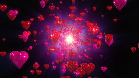 Hearts loopable background. Flight hearts loopable background animation stock video
