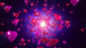 Hearts loopable background. Flight hearts loopable background animation stock video footage