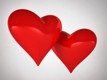 Hearts in love. Two red hearts in love Stock Image