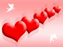 Hearts and love. Red hearts background as symbol of love Stock Image