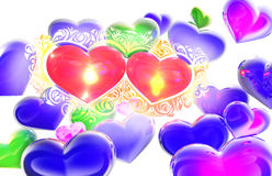 Hearts in love abstract 3D composition Stock Photos