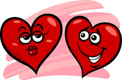 Hearts in love cartoon illustration Royalty Free Stock Images