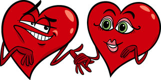 Hearts in love cartoon illustration Stock Photos
