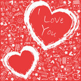Hearts love  - Doodles collection Royalty Free Stock Photography