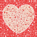 Hearts love  - Doodles collection Royalty Free Stock Photos