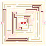 Hearts in love labyrinth Stock Photos