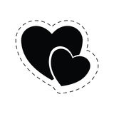 Hearts love romantic valentine pictogram Royalty Free Stock Images