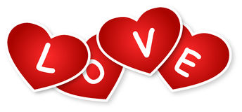 Hearts And Love Sign. Hearts And Love Text On A White Background Stock Photo