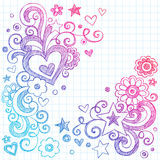 Hearts Love Sketchy Doodles Vector Design Elements stock illustration