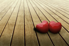 Hearts in love on table. Two heart shape on the table Stock Photo