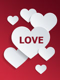 Hearts with Love Text for Valentines Day Royalty Free Stock Photography