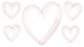 Hearts Love - Valentine`s Day - Illustration - Vector. Hearts Love Royalty Free Stock Image