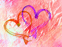 Hearts lovely grunge background. Multicolored heart lovely grunge background, textured romantic heart abstract line backdrop Royalty Free Stock Image