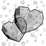 Hearts in low poly style. Black white Stock Images