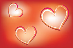 Hearts on luminous background Stock Photos