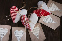 Hearts made of cloth Stock Image