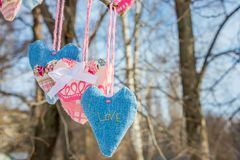 Hearts made of cloth in the wind love. Hearts of fabric in the wind on a branch in forest in winter Stock Photography