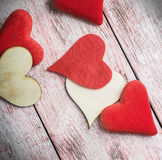 Hearts made of felt and wood on the table Stock Photo