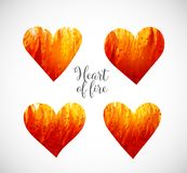 Hearts made of fire. Big abstract bright grunge splash with place for your text on white background. Vector illustration Royalty Free Stock Images