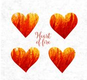 Hearts made of fire. Big abstract bright grunge splash with place for your text on white background. Vector illustration Royalty Free Stock Photography