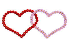 Hearts made with flowers Stock Photography