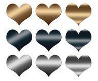 Hearts made of gold and silver metal, LOVE sign Stock Photo