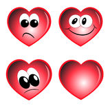 Hearts vector. Magic decorative  red hearts with emotions Royalty Free Stock Photos