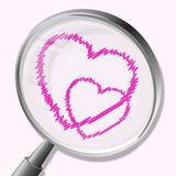 Hearts Magnifier Indicates In Love And Lovers Stock Photography
