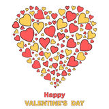 Hearts making a heart shape valentines day card Royalty Free Stock Photos