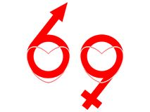 69 symbol. Hearts, male and female symbols as 69 Vector Illustration