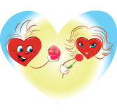 Hearts of the man and the woman in expression of l Royalty Free Stock Photography