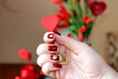 Hearts and Mani - song for Valentine`s day. Drawing the nail in Royalty Free Stock Images