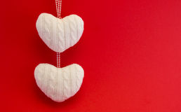White woolen hearts  Royalty Free Stock Photos