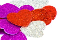 Hearts with many colored rhinestones Royalty Free Stock Photos