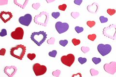 Hearts in many shapes Royalty Free Stock Photo