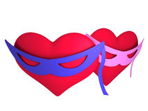 Hearts in masks Stock Photography