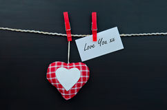 Hearts and memo Love You Royalty Free Stock Image