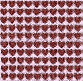 Hearts mirrored in water. Pattern with metal hearts wrapped with red cord, mirrored in water. collage Stock Images